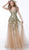 Jovani - Floral Embroidered Crisscross-Strapped Gown 60800 - 1 pc Gold Multi In Size 2 Available CCSALE 2 / Gold Multi
