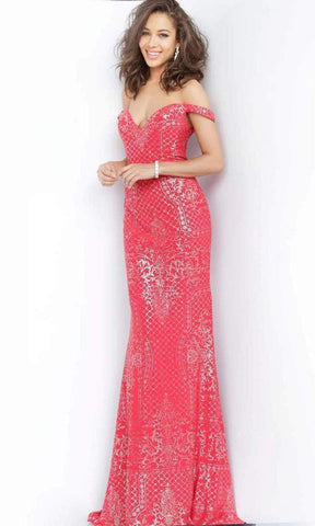 Jovani - Intricate Off Shoulder Long Gown JVN60139SC - 1 pc Blush In Size 4 Available
