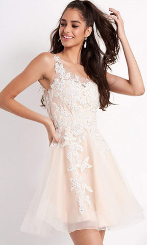 Jovani - JVN04705 Embroidered Asymmetric A-line Cocktail Dress Homecoming Dresses 00 / Off-White/Nude