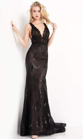 Jovani - JVN05798 Lace Detailed Strappy Back Trumpet Gown Evening Dresses 00 / Black/Nude