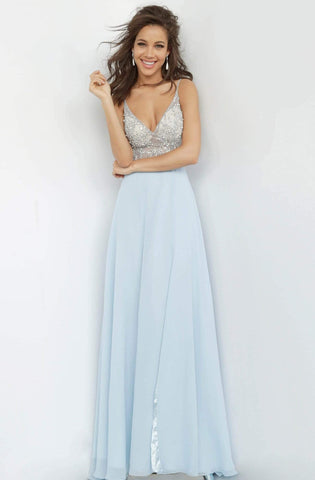 Jovani - JVN4410 Jeweled Illusion Bodice Chiffon Gown
