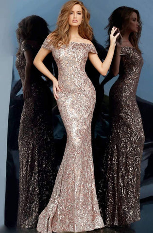 Jovani - Off-Shoulder Sequined Sheath Dress 1122SC - 1 pc Copper In Size 8 Available CCSALE 8 / Copper