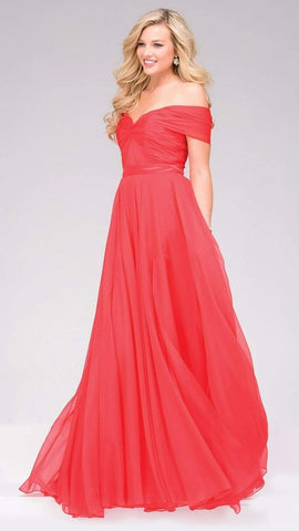 Jovani - Off the Shoulder  Long Chiffon Prom Dress 42003 Special Occasion Dress 00 / Coral
