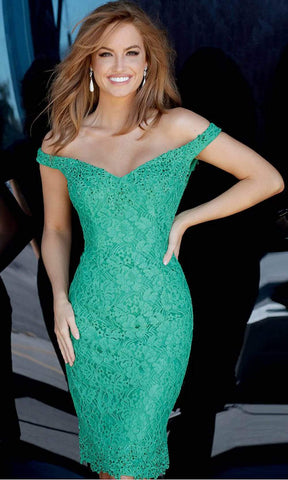 Jovani - Rhinestone Ornate Lace Off Shoulder Dress JVN62568SC - 1 pc Jade In Size 14 Available