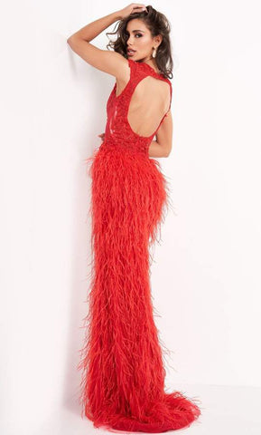 Jovani - Sleeveless V Neck High Slit Feather Skirt Prom Dress 06446SC - 1 pc Red In Size 8 Available CCSALE 8 / Red