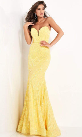 Jovani - Strapless Plunging Sweetheart Neck Sequin Gown 03445SC - 1 pc Yellow In Size 2 Available