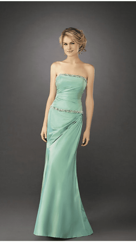 Sophisticated Strapless Beaded Trim Floor Length Straight Neck Open-Back Shirred Fitted Draped Ruched Mermaid Dropped Waistline Dress
