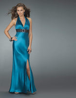 V-neck Sheath Sleeveless Slit Open-Back Halter Natural Waistline Sheath Dress/Evening Dress/Pageant Dress/Prom Dress