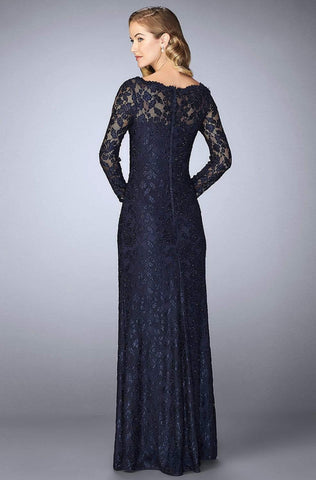 La Femme - 24869 Long-Sleeved Scalloped Lace Evening Gown Mother of the Bride Dresses 2 / Navy