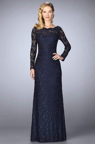 La Femme - 24869 Long-Sleeved Scalloped Lace Evening Gown