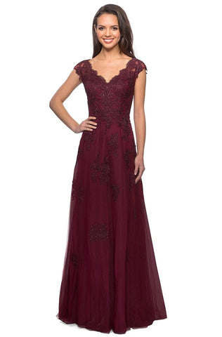 La Femme - 26942  V Neck Floral Lace Appliqued A-Line Tulle Gown Mother of the Bride Dresses 2 / Burgundy