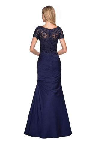 La Femme - 26979 Short Sleeve Lace Bodice Pleated Trumpet Gown Special Occasion Dress 4 / Navy