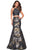 La Femme - 27083 Two Piece Halter Jacquard Mermaid Dress Evening Dresses 00 / Black/Gold