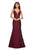 La Femme - 27446 Long Strappy Back Trumpet Gown Special Occasion Dress 00 / Burgundy