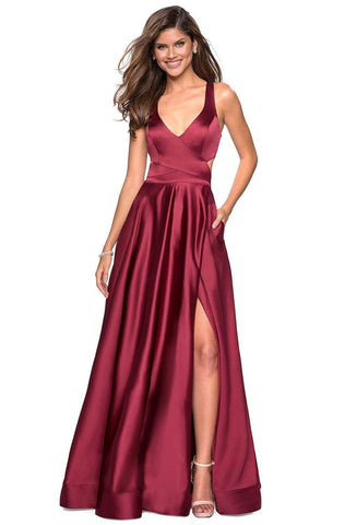 La Femme - 27487 Plunging Halter V-neck Satin A-line Dress Special Occasion Dress 00 / Deep Red