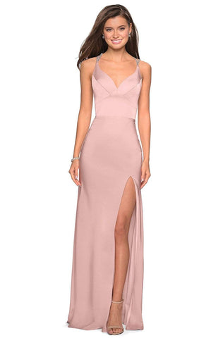 La Femme - 27519 Seamed Strappy Evening Dress with Slit