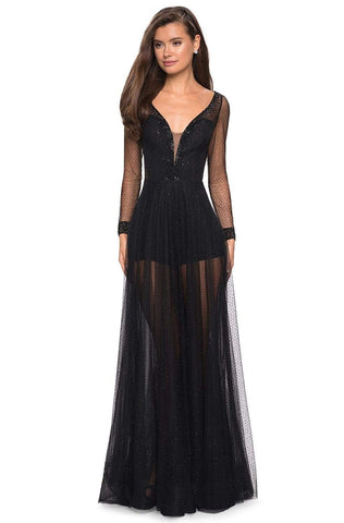 La Femme - 27652 Beaded Deep V-neck Long Sleeve Tulle Dress