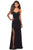 La Femme - 27657 Plunging Crisscross-Strapped High Slit Gown Prom Dresses 00 / Black