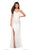 La Femme - 27657 Plunging Crisscross-Strapped High Slit Gown Prom Dresses 00 / White