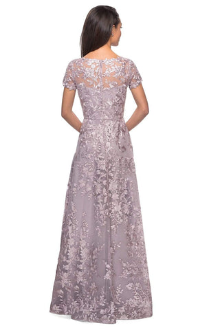 La Femme - 27870 Short Sleeve Lace Overlaid A-Line Dress Mother of the Bride Dresses 4 / Antique Blush