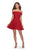 La Femme - 28122 Off Shoulder Short Lace Dress Homecoming Dresses 00 / Red