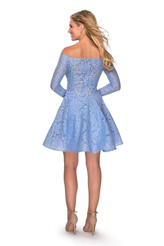 La Femme - 28175 Lace Long Sleeve Off-Shoulder A-line Dress Homecoming Dresses