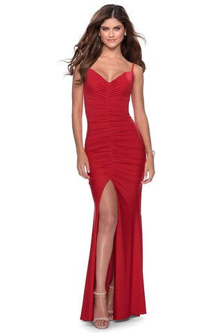 La Femme - 28416 Ruched Deep V-neck Sheath Dress
