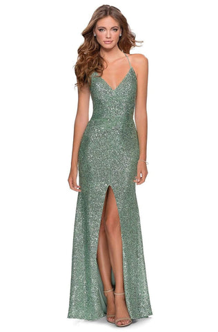 La Femme - 28525 Sequined Plunging V-neck Sheath Dress Evening Dresses 00 / Mint