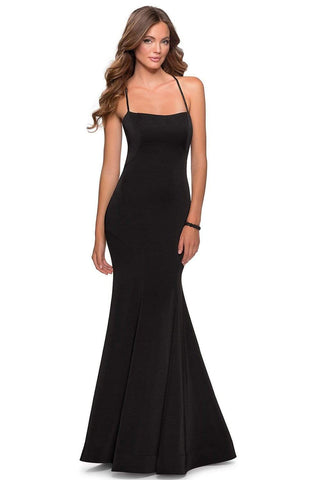 La Femme - 28526 Bead-Ornate Crisscross Strapped Mermaid Dress