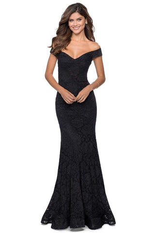 La Femme - 28545 Embellished Lace Off-Shoulder Trumpet Dress