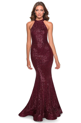 La Femme - 28612 Sequined Halter Neck Trumpet Dress Prom Dresses 00 / Burgundy