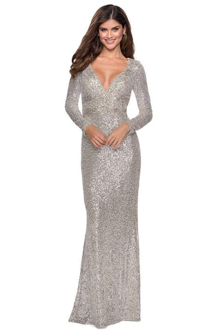 La Femme - 28743 Deep V-Neckline Sequin Long Sleeves Sheath Dress Evening Dresses 00 / Silver