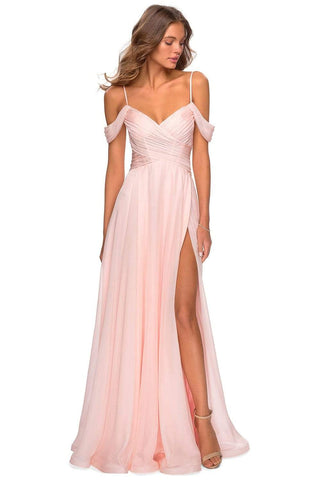 La Femme - 28942 Crisscross Surplice Cold Shoulder Gown Prom Dresses 00 / Blush