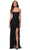 La Femme - 29650 Crisscross Strapped Open Back Ruffle Slit Lace Gown Special Occasion Dress 00 / Black