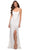 La Femme - 29650 Crisscross Strapped Open Back Ruffle Slit Lace Gown Special Occasion Dress 00 / White