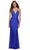 La Femme - 29688 Jersey Lace Plunging V Neck Dress Special Occasion Dress 00 / Royal Blue