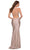 La Femme - 29873 Strappy Open Back Shiny Jersey Fitted Gown Special Occasion Dress
