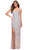 La Femme - 29936 Iridescent Sequin High Slit Dress Special Occasion Dress 00 / Pink