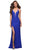 La Femme - 29958 Low V Neck Beaded Slit Dress Prom Dresses 00 / Royal Blue