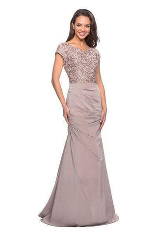 La Femme - Embroidered V Neck Ruched Mermaid Dress 26806SC - 1 pc Champagne In Size 10 Available