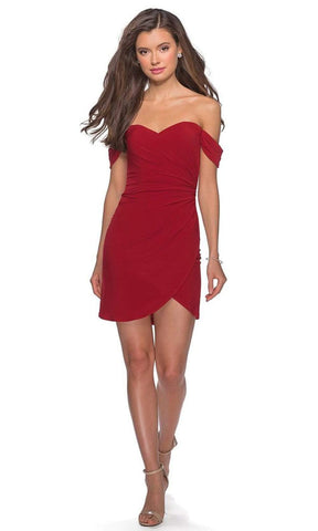 La Femme - Off-Shoulder Jersey Sheath Dress 28193SC - 2 pcs Red In Size 8 and 10 Available