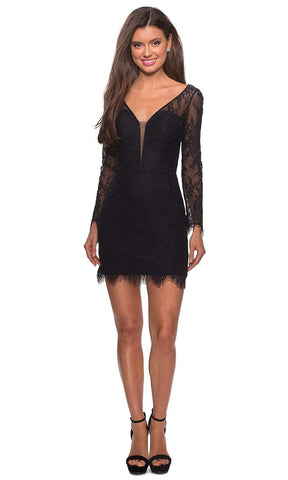La Femme - Plunging V-Neck Lace Sheath Dress 28233SC - 1 pc Black In Size 4 Available