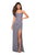 La Femme - Sleeveless Draped Sheath High Slit Gown 27470SC - 1 pc Silver in Size 0 Available CCSALE 4 / Silver