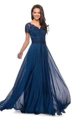 La Femme - V neck Embroidered A- Line Evening Dress 27098SC - 1 pc Midnight Blue in size 6 Available