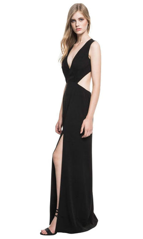 Lamarque - Plunging V-Neck Cutout Maxi Villetta Dress - 1 pc Black In Size 2 Available