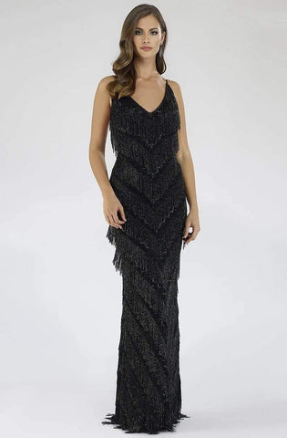 Lara Dresses - 29564 Bead Fringed Chevron Motif Dress