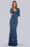 V-neck Floor Length Long Sleeves Back Zipper Sequined Fitted Sheath Basque Waistline Sheath Dress/Evening Dress
