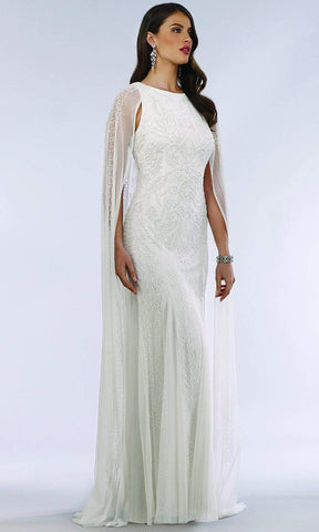Lara Dresses - 51045 Caped Sleeveless Beaded Lace Bridal Dress