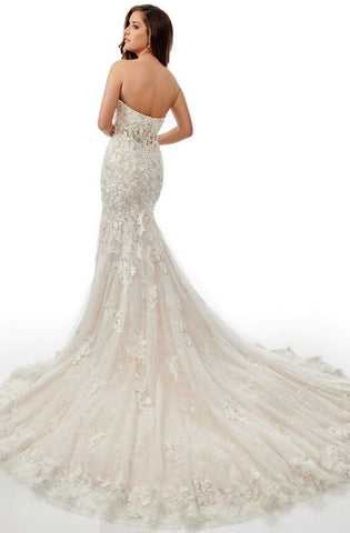 Lo'Adoro Bridal By Rachel Allan - M757 Lace Applique Mermaid Gown Wedding Dresses 0 / Ivory Champagne