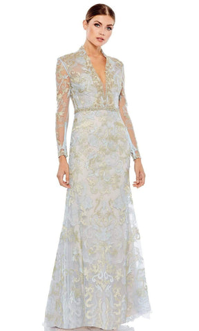 Mac Duggal - 11165 Beaded High Collar Trumpet Gown Evening Dresses 0 / Powder Blue